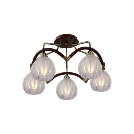 Потолочная люстра N-Light 407-05-53ABWBB antique brass + walnut